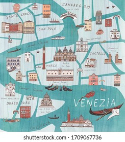Venice Venezia Italy city map hand drawn illustrations with watercolor background