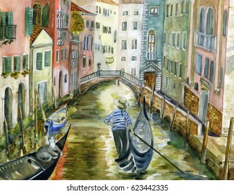 Venice water color handmade painting, gondolier, cat