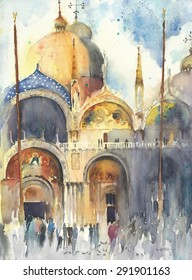 Venice watercolor painting San-Marco church temple greeting card