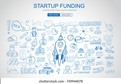 Venture Capital Funding concept with Business Doodle design style: raise money, campain best practice, series A crowd fund. Modern style illustration for web banners, brochure and flyers.