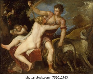 VENUS AND ADONIS, by Titian, 1545-75, Italian Renaissance painting, oil on canvas. Scene from Ovid\x90s METAMORPHOSES, in which Venus begs the hunter Adonis not to leave, warning him of danger.