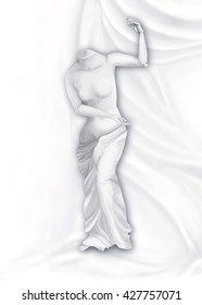 Venus on the pleated background with hands digital painting