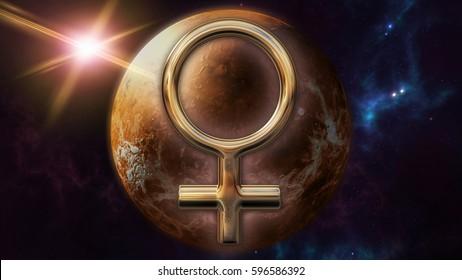 Venus zodiac horoscope symbol and planet. 3D rendering