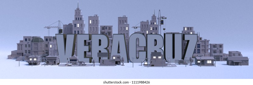 Veracruz lettering name, illustration 3d rendering city with gray buildings