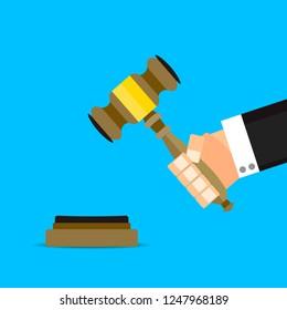 Verdict judge with hammer vector flat cartoon. Legal verdict judge, justice hammer, gavel authority, auction hammer. Vector illustration
