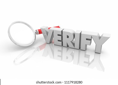 Verify Magnifying Glass Check Facts Research 3d Render Illustration