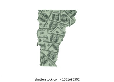 Vermont State Map and Money Concept, Hundred Dollar Bills