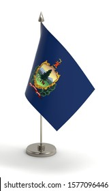 Vermont table flag on a white background. Flag of Vermont; 3d render.