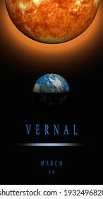 vernal, spring equinox 3d rendering illustration