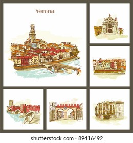 Verona - the city of Romeo and Juliet. Bridge over Adiga river. Italy