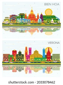 Verona Italy and Bien Hoa Vietnam City Skyline Set with Color Buildings, Blue Sky and Reflections. Business Travel and Tourism Concept with Historic Architecture.