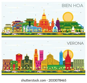 Verona Italy and Bien Hoa Vietnam City Skyline Set with Color Buildings and Blue Sky. Business Travel and Tourism Concept with Historic Architecture.