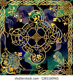 versace baroque pattern design  and scarf design