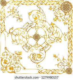versace baroque white color pattern design and scarf model