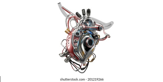 VERSION 2.0. Unique robotic internal organ - steel heart with info screen / Heart Protocol Systems