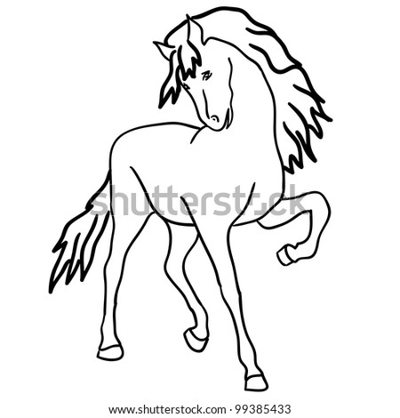 Version Black Horse Silhouette Isolated On Stock Illustration