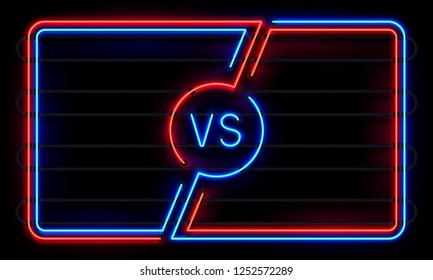 Versus neon frame. Sport battle glowing lines banner, VS duel boxing match fight vs sign defeat blue and red. Sports fight team win game frames icon  background