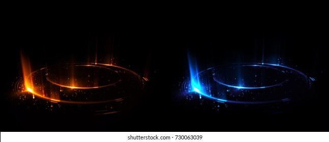Versus round blue and red glow rays night scene. Light effect podium. 