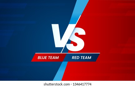 Versus screen. Vs battle headline, conflict duel between Red and Blue teams. Confrontation fight competition. Boxing martial arts mma fighter match  background template