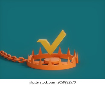 Vert Booby Trap Danger Crypto Currency 3D Illustration Render
