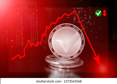 Vertcoin cryptocurrency value price fall drop; vertcoin price down