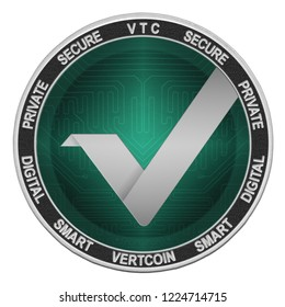 Vertcoin (VTC) coin isolated on white background; vertcoin cryptocurrency
