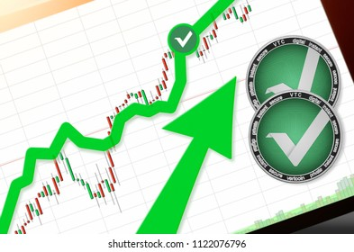 Vertcoin (VTC) index rating go up on exchange market; cryptocurrency chart on tablet pc (smartphone) with arrow pointing up and coins vertcoin. Place for text (prices); top view