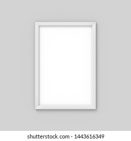 Vertical A4 white simple picture frame. Mockup for photography. 3D rendering