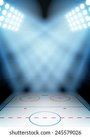 Vertical Background for posters night ice hockey stadium in the spotlight.