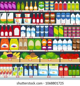 Vertical background, store shelves full of groceries. illustration