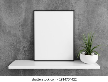 Vertical black frame mockup. Black frame poster on a white shelf with concrete wall and plants. 3D illustrations.