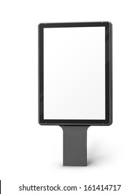 Vertical blank billboard isolated on a white background, screen and outline clipping paths included.