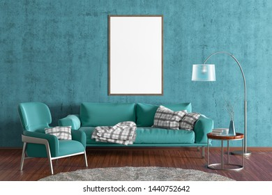 Vertical blank poster on cyan concrete wall in interior of modern living room with turquoise leather sofa and armchair, floor lamp and branches in vase on wooden coffee table. 3d illustration