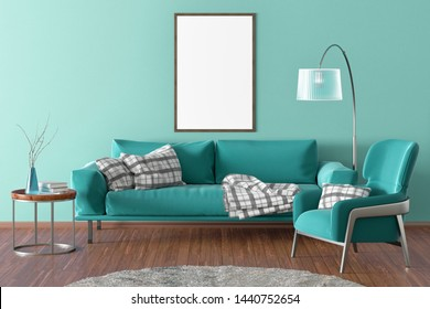 Vertical blank poster on cyan wall in interior of modern living room with turquoise leather sofa and armchair, floor lamp and branches in vase on wooden coffee table. 3d illustration