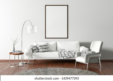 Vertical blank poster on white wall in interior of modern living room with white leather sofa and armchair, floor lamp and branches in vase on wooden coffee table. 3d illustration