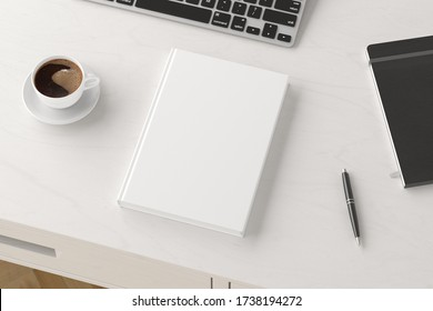 Vertical book cover mock up. Workspace on white wooden desk with cup of coffee. Side view. 3d render