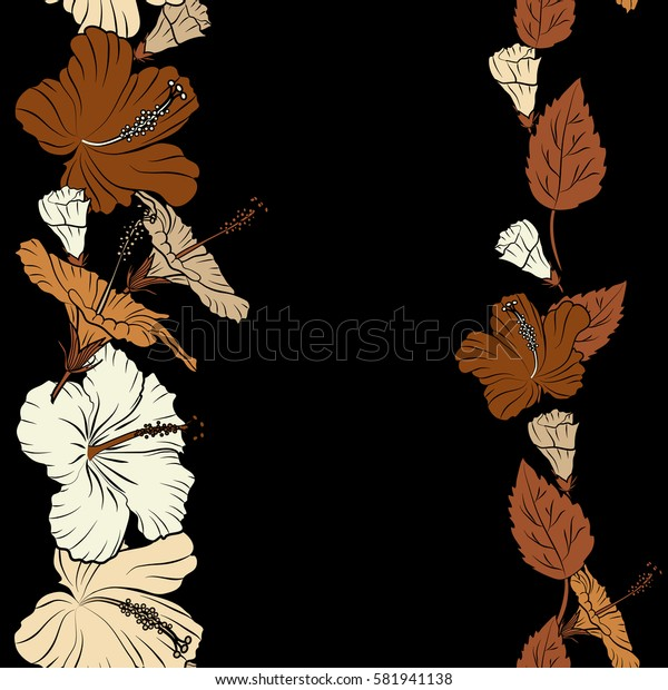 Vertical. Bright hawaiian design with copy space (place for your text) and tropical plants (brown, beige and orange hibiscus flowers).