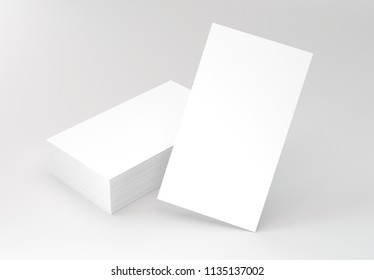 Vertical Business Cards on gray mockup. 3d rendering.