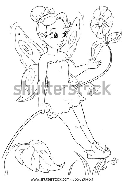 Coloring Page With Cute Little Elf Girl Standing On A Flower Stock ... | 620x424