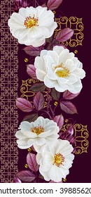 Vertical floral border. Pattern, seamless. Old style, mosaic. Flower garland of roses and red leaves.