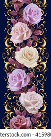 Vertical floral border. Pattern, seamless. Old style. Garland of pink and orange roses, mosaic.