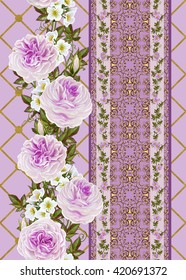 Vertical floral border. Pattern, seamless. Old style. Flower garland of pink roses and white flowers in gold braiding.