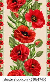 vertical floral border red poppies flowers, pattern, seamless