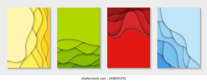 Vertical flyers with colorful paper cut waves shapes. 3D abstract paper style, design layout for business presentations, flyers, posters, prints, decoration, cards, brochure cover, banners.