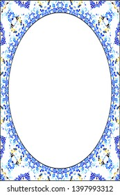 Vertical frame of colorful abstract pattern with an oval white empty space inside for your text or image