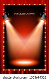 vertical frame with lights in the background of a red curtain. Raster copy