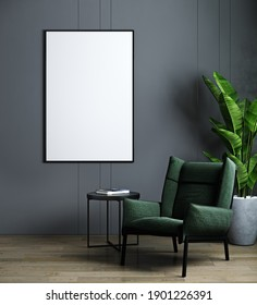 Vertical frame mockup in modern dark interior with green armchair and plant. Scandinavian style, 3d render