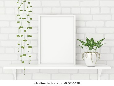 Vertical frame poster mock up with green plants on white brick wall background. 3d rendering.