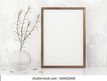 Vertical frame poster mock up with green plant in vase white stucco wall background. 3d rendering.