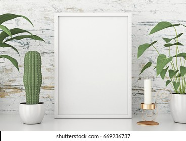 Vertical frame poster mock up with green plants on white wooden wall background. 3d rendering.
